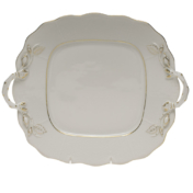"""Golden Edge Square Cake Plate With Handles  9.5""""Sq"""