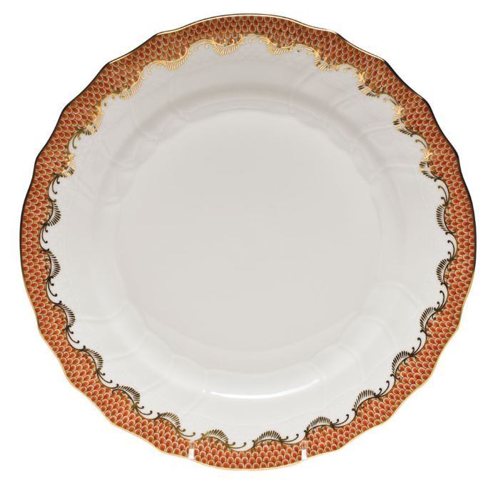 HEREND FISHSCALE RUST DINNER PLATE