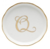 Herend Monogrammed Coaster Q