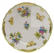 Herend Queen Victoria Green Border Bread and Butter Plate