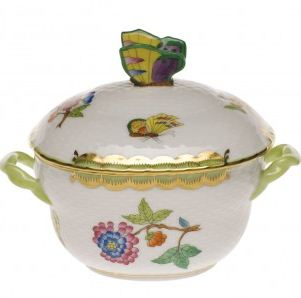 Herend Queen Victoria Green Border COV BonBon with Butterfly