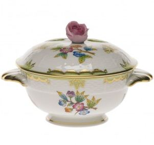 Herend Queen Victoria Green Border COV Cup with Rose Lid