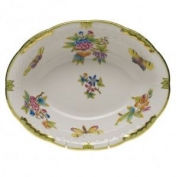 Herend Queen Victoria Green Border Oval Vegetable Dish