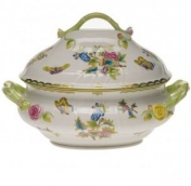 Herend Queen Victoria Green Border Tureen with Branch