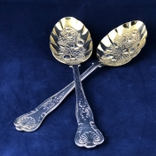 Pair of Silverplate Spoons with Gilded Berry Relief Bowls