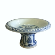 blue and white pedestal bowl