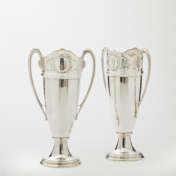 tall antique silver vases