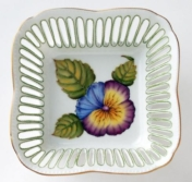 Small Square Flower Dish - Green