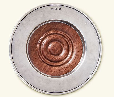 Match Pewter Wine Coaster with Wood Insert