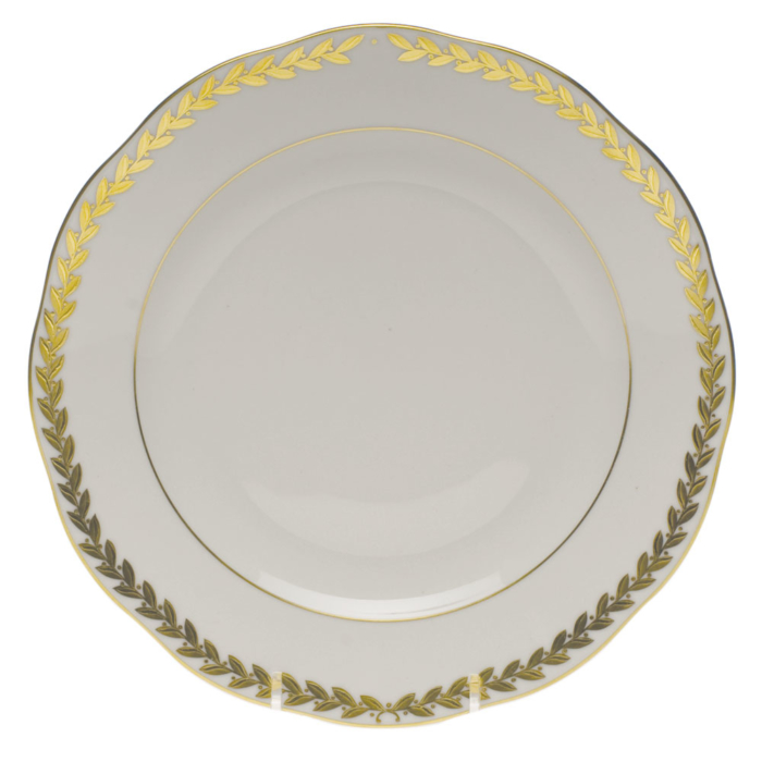 "Golden Laurel Dessert Plate  9""D"