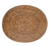 Oval Rattan Placemat Antique Brown
