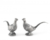 PEWTER PHEASANT SALT AND PEPPER SHAKERS