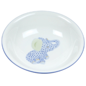 "Blue Fishnet Fancy Bowl With Elephant  7""D"
