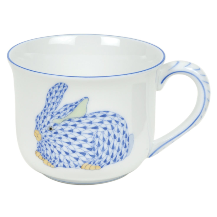 Blue Fishnet Fancy Mug With Bunny  (6 Oz)