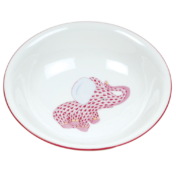 "Raspberry Fishnet Fancy Bowl With Elephant  7""D"