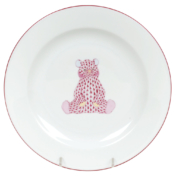 "Raspberry Fishnet Fancy Plate With Bear  8.25""D"