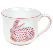 Raspberry Fishnet Fancy Mug With Bunny  (6 Oz)