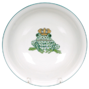 "Green Fishnet Fancy Bowl With Frog Prince 7""D"