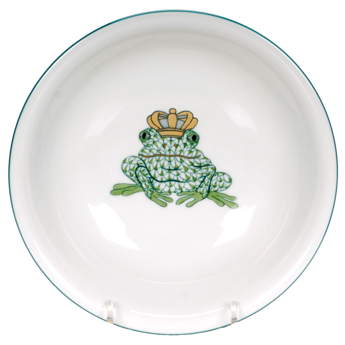 """Green Fishnet Fancy Bowl With Frog Prince 7""""D"""