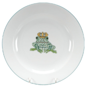 "Green Fishnet Fancy Plate Wth Frog Prince 8.25""D"