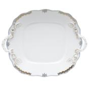 Princess Victoria Light Blue Sq. Cake Plate With Handles