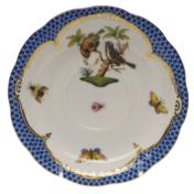 """Rothschild Bird Blue Border Tea Saucer - Motif 12 6""""D"""