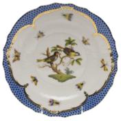 """Rothschild Bird Blue Border Salad Plate - Motif 11 7.5""""D"""