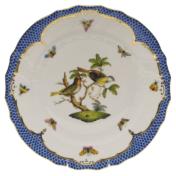 "Rothschild Bird Blue Border Dinner Plate - Motif 11 10.5"""