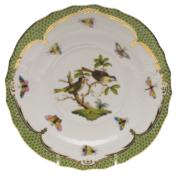 """Rothschild Bird Green Border Salad Plate - Motif 11 7.5""""D"""