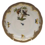 """Rothschild Bird Brown Border Tea Saucer - Motif 12 6""""D"""