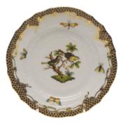 """Rothschild Bird Brown Border Bread & Butter Plate - Motif 11 6""""D"""