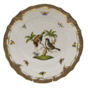 "Rothschild Bird Brown Border Dinner Plate - Motif 12 10.5"""