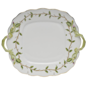 "Rothschild Garden Square Cake Plate With Handles 9""Sq"
