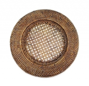 Round Rattan Charger Antique Brown