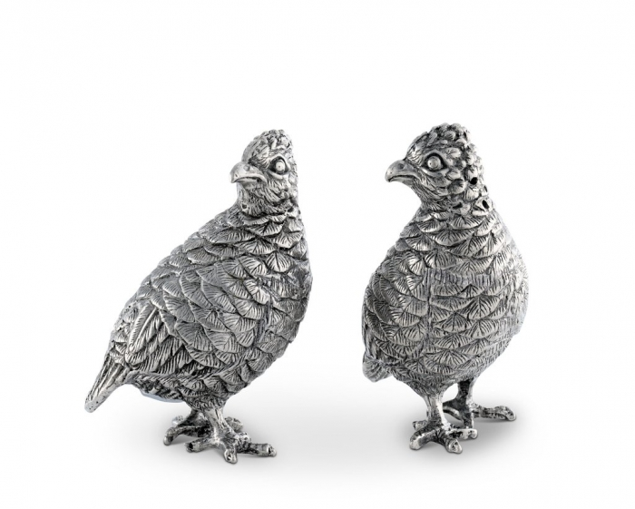 PEWTER QUAIL SALT AND PEPPER SHAKERS
