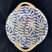 Terrafirma Ceramics 9 inch Vegetable Bowl with Handles Fern Cobalt