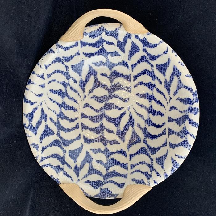 Terrafirma Ceramics 9 inch Vegetable Bowl with Handles Fern Cobalt