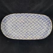 Terrafirma Ceramics Large Fish Platter Chevron Cobalt