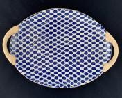 Terrafirma Ceramics Small Oval Platter with Handles Dot Cobalt