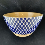 Terrafirma Ceramics Small Salad Bowl Dot Cobalt