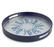 William Yeoward Blue Silver Fern Round Tray