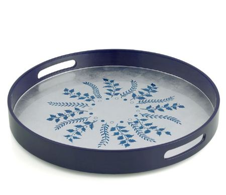 William Yeoward Blue Silver Fern Round Tray