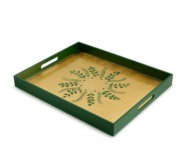 William Yeoward Green Gold Fern Rectangular Tray