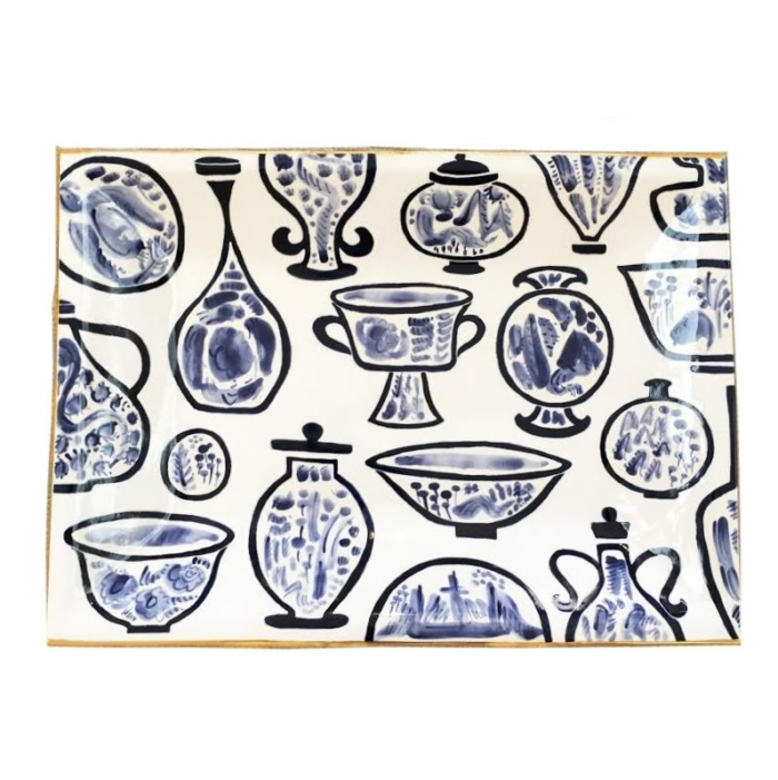 Lawrence McRae blue and white tray