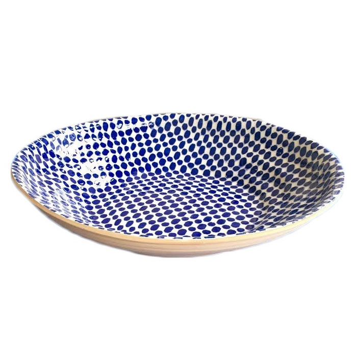 Terrafirma Ceramics centerpiece bowl dot cobalt