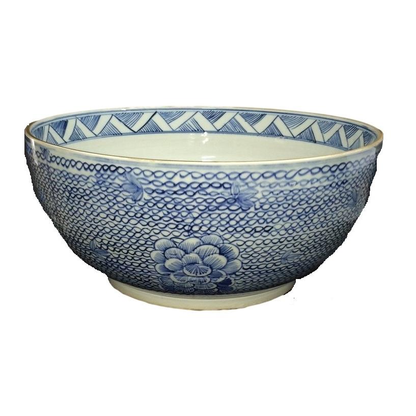 Blue and white centerpiece bowl elizabeth bruns inc