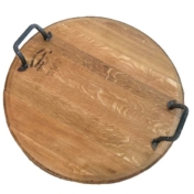 oak wine barrel lid tray