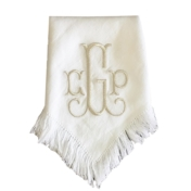 Halo Home Fringe Dinner Napkin with Monogram