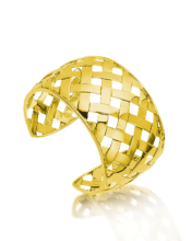 18kt Gold Basket Weave Cuff Bracelet