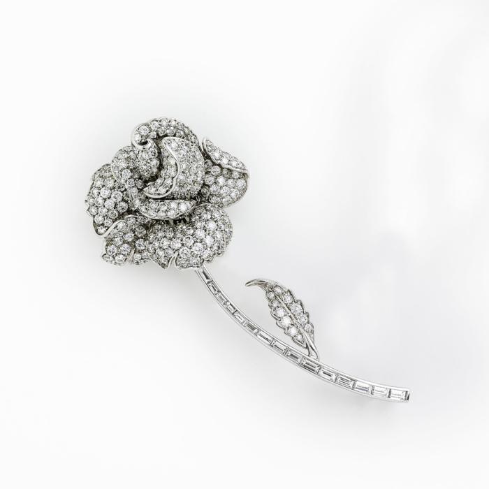 Diamond Rose Pin